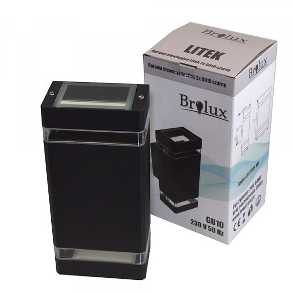 LED sienos šv.2*GU10 IP54 Al.juodas Litek 102*109*