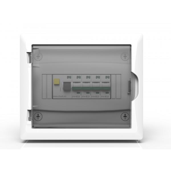 Skydelis EB 1/ 8 [N+PE]IP40 baltas,skaidr.dur. v/t